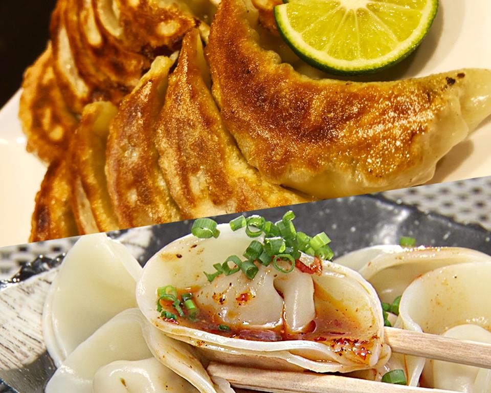 保存料不使用で手包みの焼き餃子と水餃子が各20個入りの桜川餃子セット